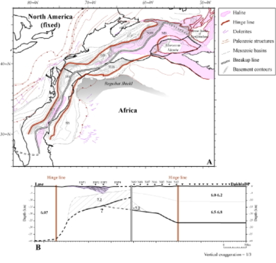 Figure 15 : A. Fit at 195 Ma (Late Sinemurian) of the African-Mesetan-North American system after Sahabi et al. (2004). This fit represents the relative positions of the continents just before seafloor accretion. Rotation parameters are: AFR/AMN: 64.31°N, 15.19°W